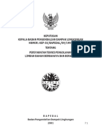 KepKaBaPeDaL No 3 Tahun 1995 Tentang Persyaratan Teknis Pengolahan Limbah Bahan Berbahaya Dan Beracun