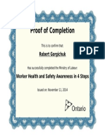 Worker Health and Safety Awareness in 4 Steps Certificate