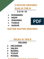Daftar Roster Menyapu
