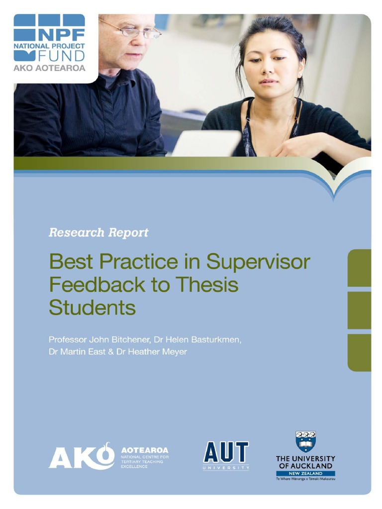 supervising thesis students Responsibilities of the supervisor 1 should check that the student receives a copy of the university's guidance on presenting a thesis, from student services.