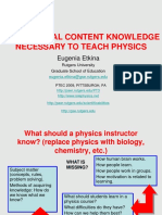 Pedagogical Content Knowledge Needed to Teach Physics