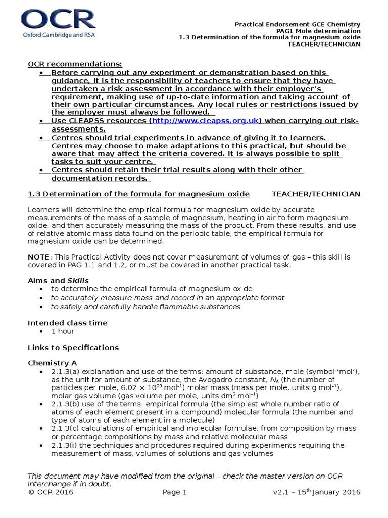 magnesium oxide report chemistry experiment empirical