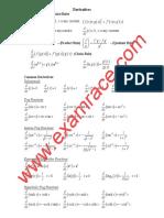 Mathematics Common Derivatives Integrals