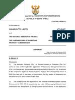 Nulandis Pty Ltd v Minister of Finance and Others [2013] ZAKZPHC 31; 2013 (5) SA 294 (KZP) (24 May 2013)