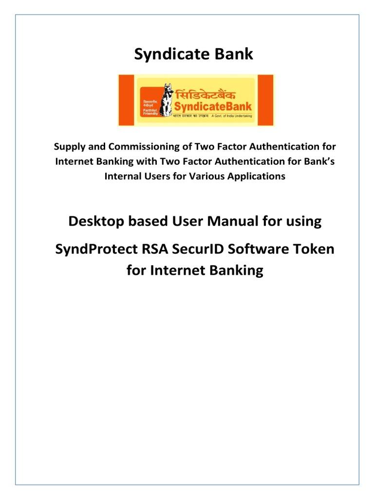 Syndicate Bank User Manual Desktop Based Software-Token v 3 1