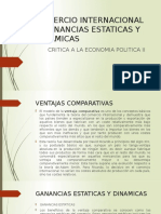 COMERCIO INTERNACIONAL Y GANANCIAS ESTATICAS Y DINAMICAS