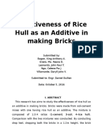 Effectiveness of Rice Hull as an Additive in Making Bricks