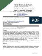 Planificacion de Opinion Derechos Humanos en Ecuador