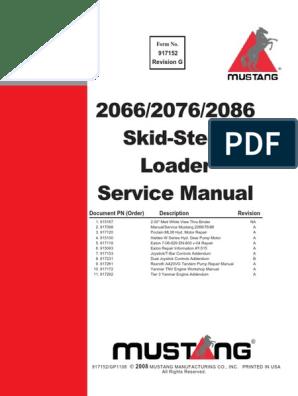 Manual De Servicio Mustang 2066 2076 2086 Motor Oil Elevator