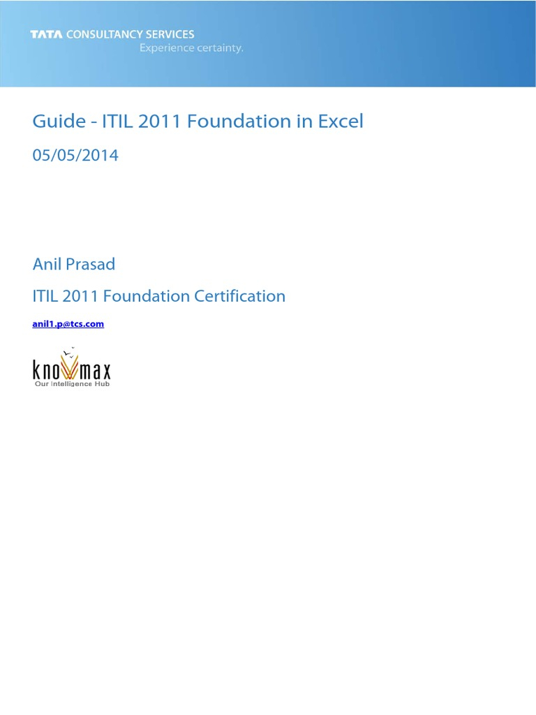 Guide Itil 2011 Foundation Certification In Excel Itil Business