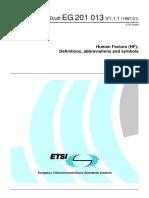 ETSI EG 201 013 - Human Factors (HF); Definitions, Abbreviations and Symbols