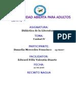 Tarea IV Didactica de La Literatura Damelia Mercedes