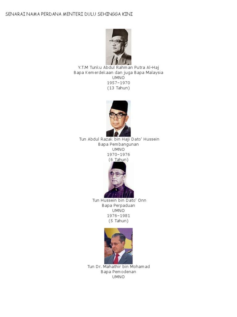 Senarai Nama Perdana Menteri