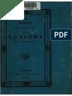 PONZIANI Domenico Lorenzo [1837] Le Leggi Del Giuoco Degli Scacchi [1837] IT 020