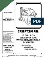 Craftsman 16 Gal Wet Vac - 113.170330