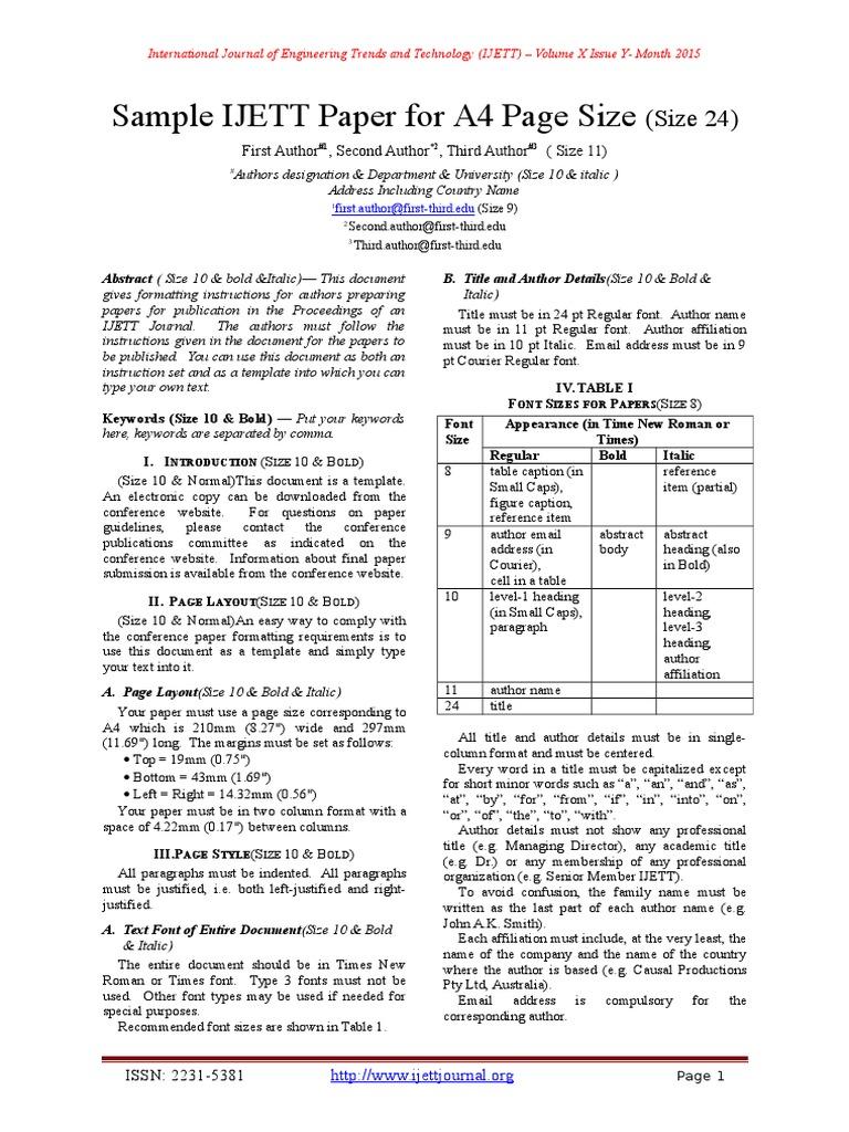 IJETT Paper Format | Typefaces | Paragraph