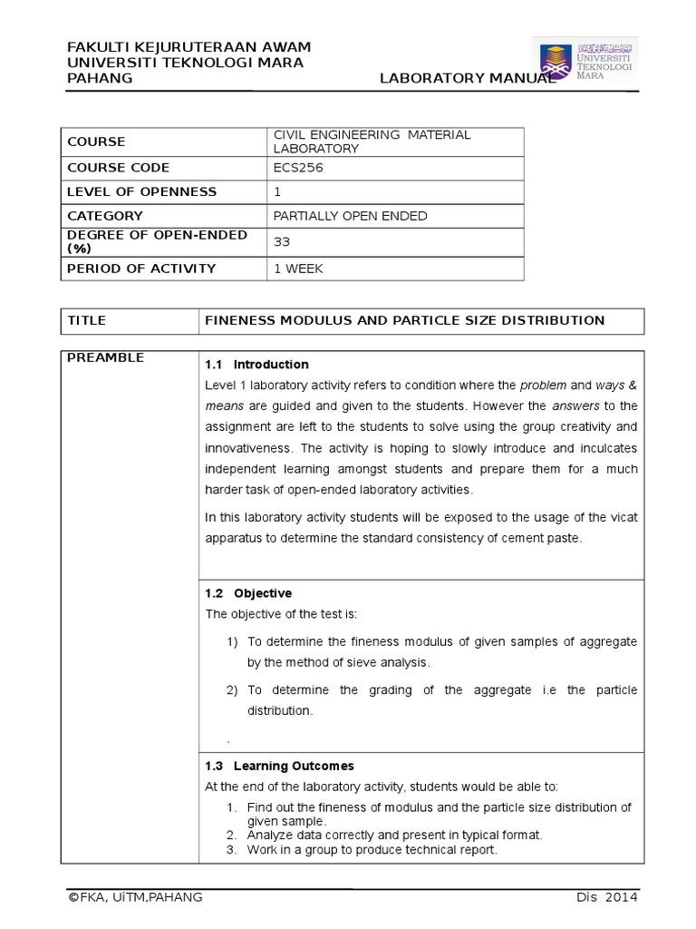 sieve analysis test report format