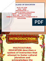 MULTICULTURAL EDUCATION By Suneha Khajuria M.Ed.