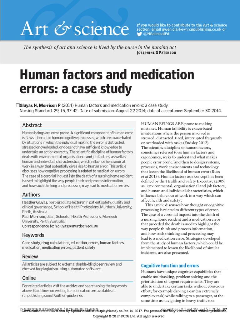Human Factors and Medication Errors a Case Study | Patient