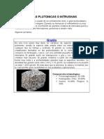 Trabajo de Rocas Plutonicas o Intrusivas