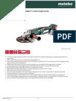 9 Cordless Angle Grinder Data Sheet