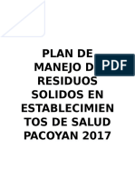 Plan de Manejo de Residuos Solidos en Establecimientos de Salud Pacoyan 2017