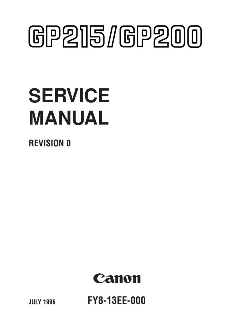 canon gp215 gp200 copier photocopier canon inc rh scribd com Canon GP200 Fuser canon gp 200 service manual