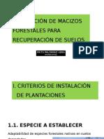 1. Instalación de Macizos Forestales Para Recuperación de Suelos