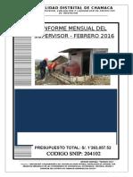 INFORME MENSUAL DEL SUPERVISOR FEBRERO 2016 - OBRA CONCHACOLLO