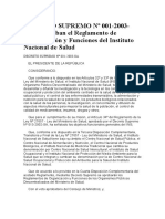 DECRETO SUPREMO Nº 001-2003-SA.- Aprueban El Reglamento de Organización y Funciones Del Instituto Nacional de Salud