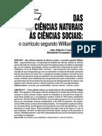 Das Ciencias Naturais Às Ciências Sociais - o Currículo Segundo William Doll