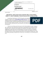 BRABENEC APPLAUDS SAFE STAFFING BILL FOR NURSES, DIRECT CARE WORKERS, URGES PASSAGE BY LEGISLATURE
