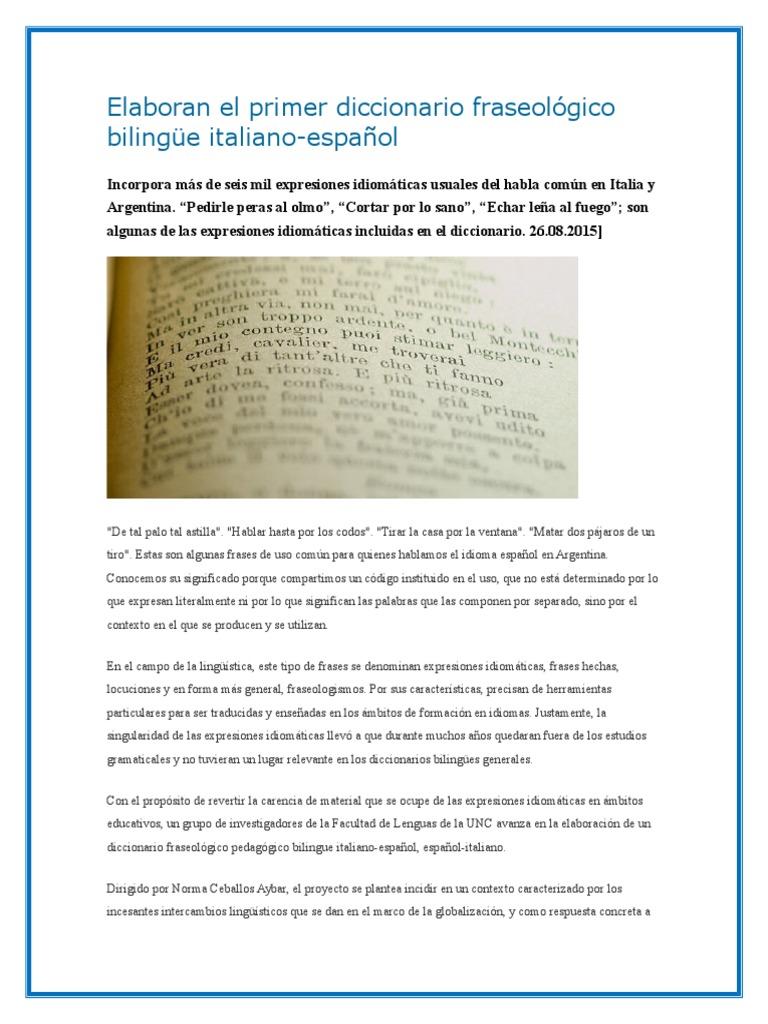 Elaboracion De Un Diccionario Multilingüismo