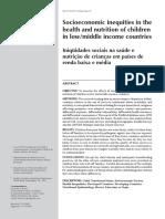 Iniqüidades sociais na saúde e nutrição de crianças em países de renda baixa e média