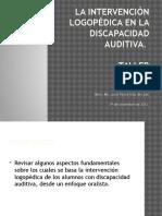 La Intervención Logopédica en La Discapacidad Auditiva
