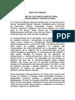 NOTA DE PRENSA SOBRE EL NUEVO MINISTERIO DE CULTURA