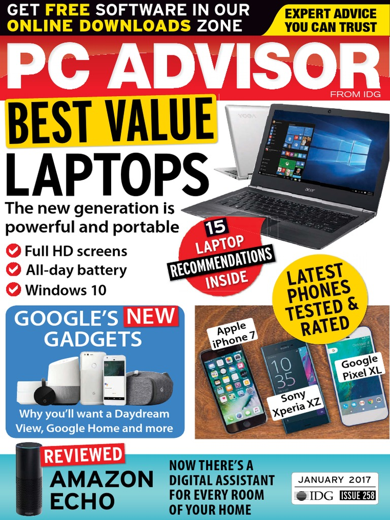 Pc Advisor January 2017 Windows 10 Digital Social Media Samsung Portable Eksternal Ssd T3 250gb Usb 31 Free Kalender