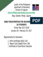 Tarp for Early Registartion