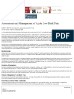 Assessment and Management of Acute Low Back Pain