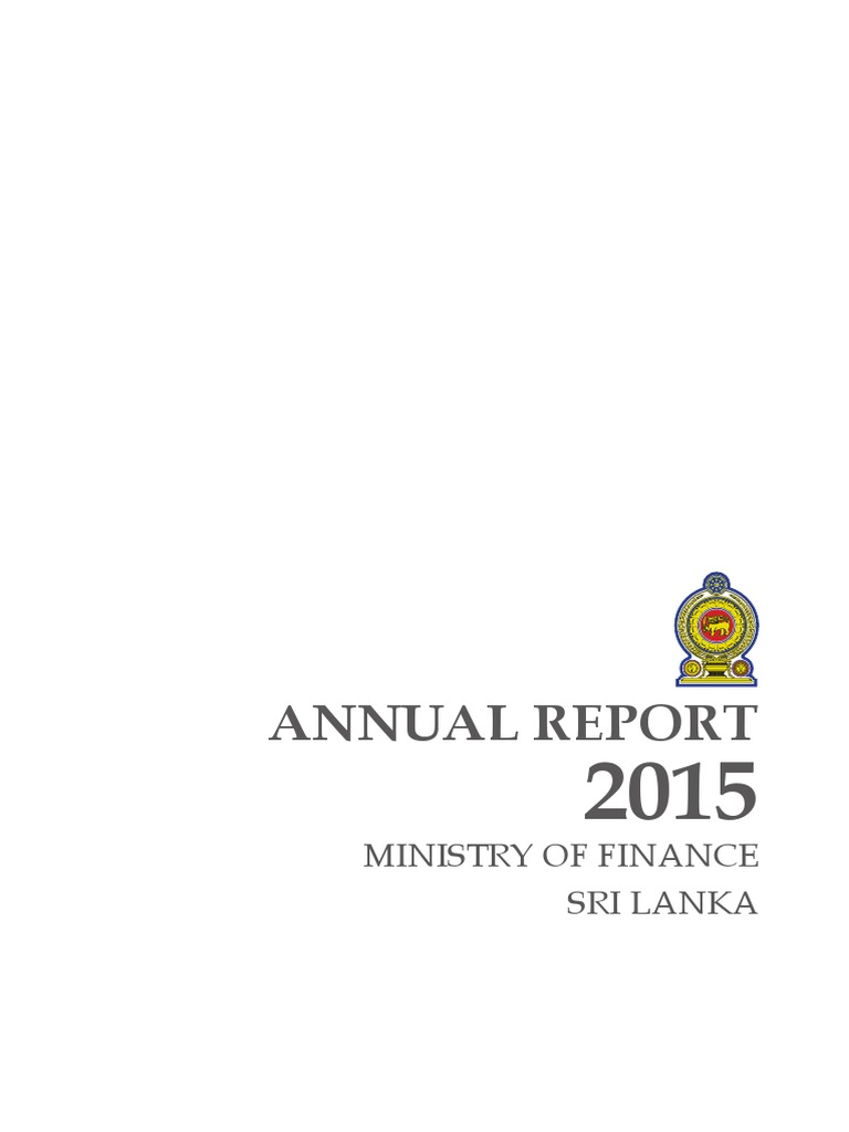 Annual Report 2015 Ministry of Finance Sri Lanka