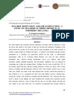 Teacher Motivation and Job Satisfaction- A Study on Teachers in Three Districts in Northern Sri Lanka