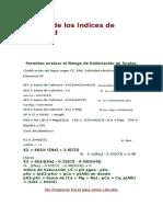 Calculo de Los Indices de Salinidad