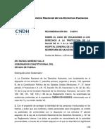 Recomendación 54/2016 de la CNDH al gobernador Rafael Moreno Valle