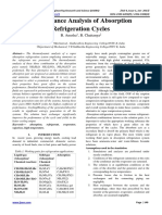 Performance Analysis of Absorption Refrigeration Cycles