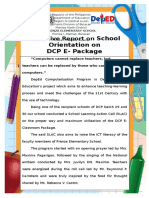 Narrative Report on School Orientation on DCP E