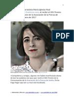 Discurso de la Periodista María Iglesias Real, al recibir el XXV Premio de la Comunicación de la Asociación de la Prensa de Sevilla