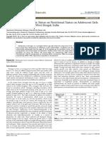Effect of Socioeconomic Status on Nutritional Status on Adolescent Girls of Paschim Medinipur West Bengal India 2376 1318 1000149