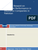 Effect of Reward on Employee Performance in Insurance Companies in Pakistan