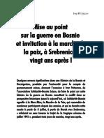 Mise Au Point Sur La Guerre en Bosnie