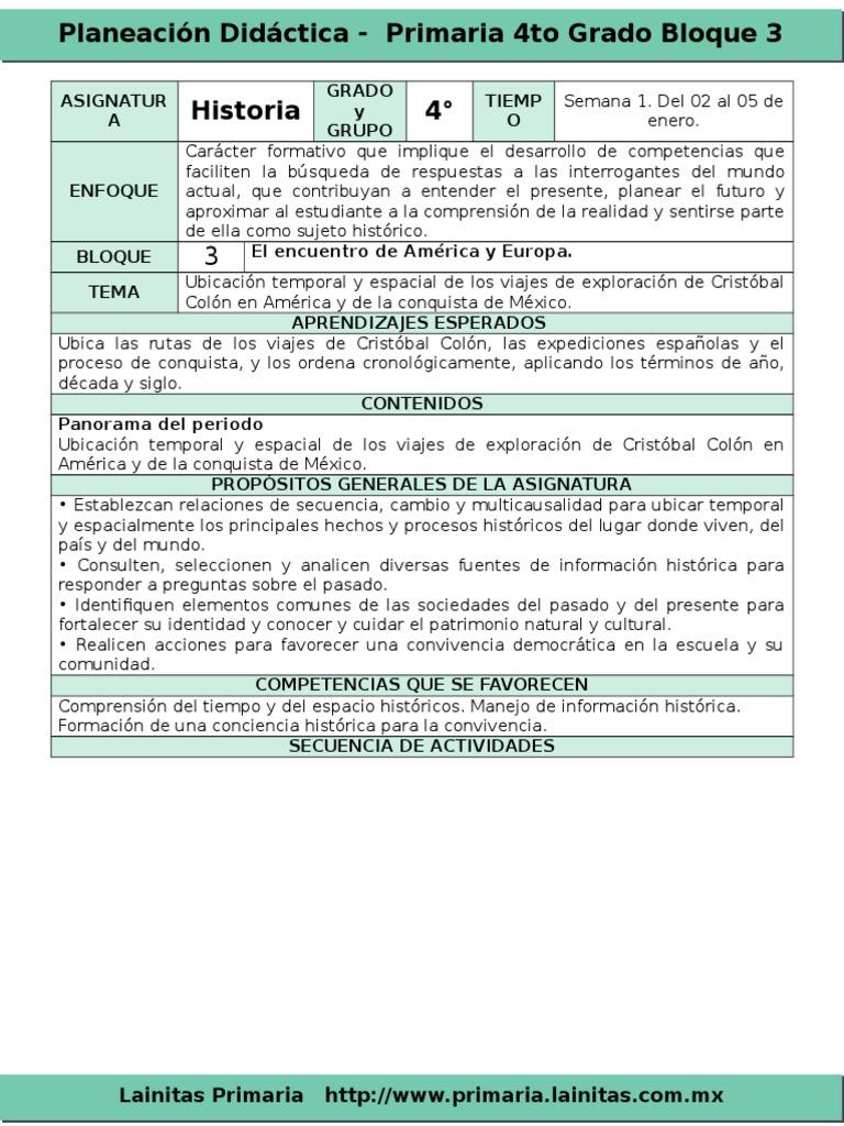 Plan 4to Grado Bloque 3 Historia 2016 2017 Cristobal Colon Mexico